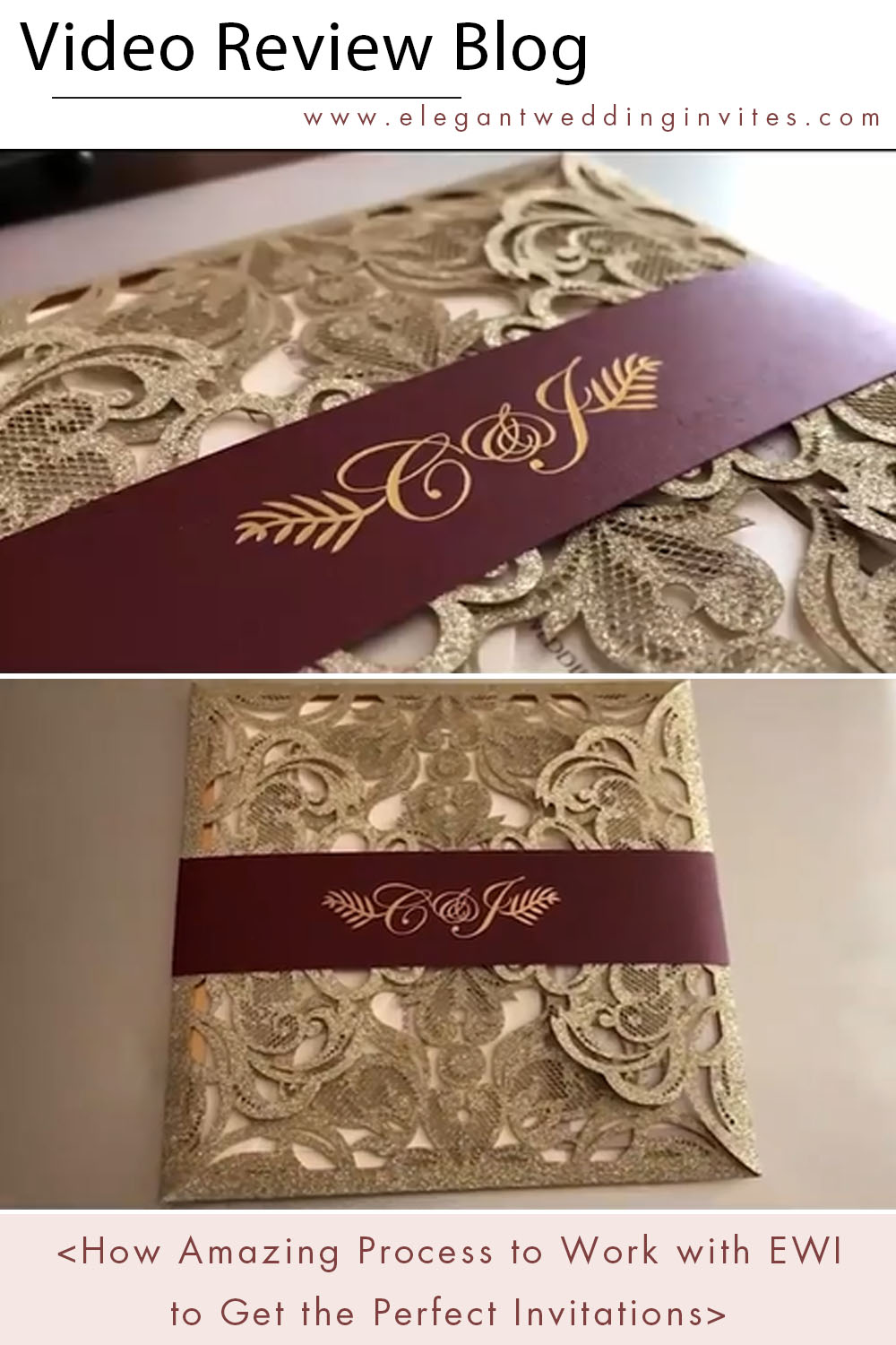 high quality glitter laser cut wedding invitations with foiled bellyband