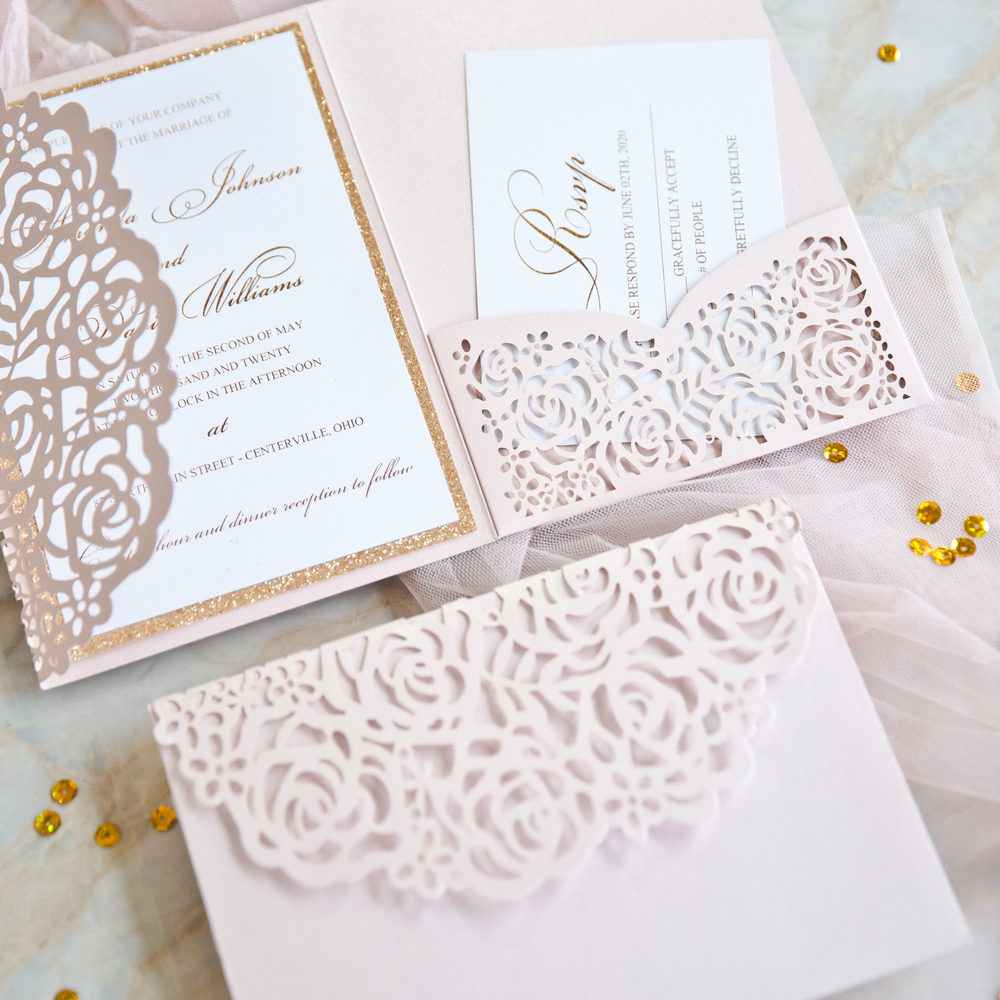 review blush pink and gold rose backer and lace pocket wedding invitations
