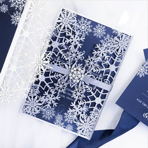 silver blue winter snowflake wedding invitations with pearl white buckles ewws216