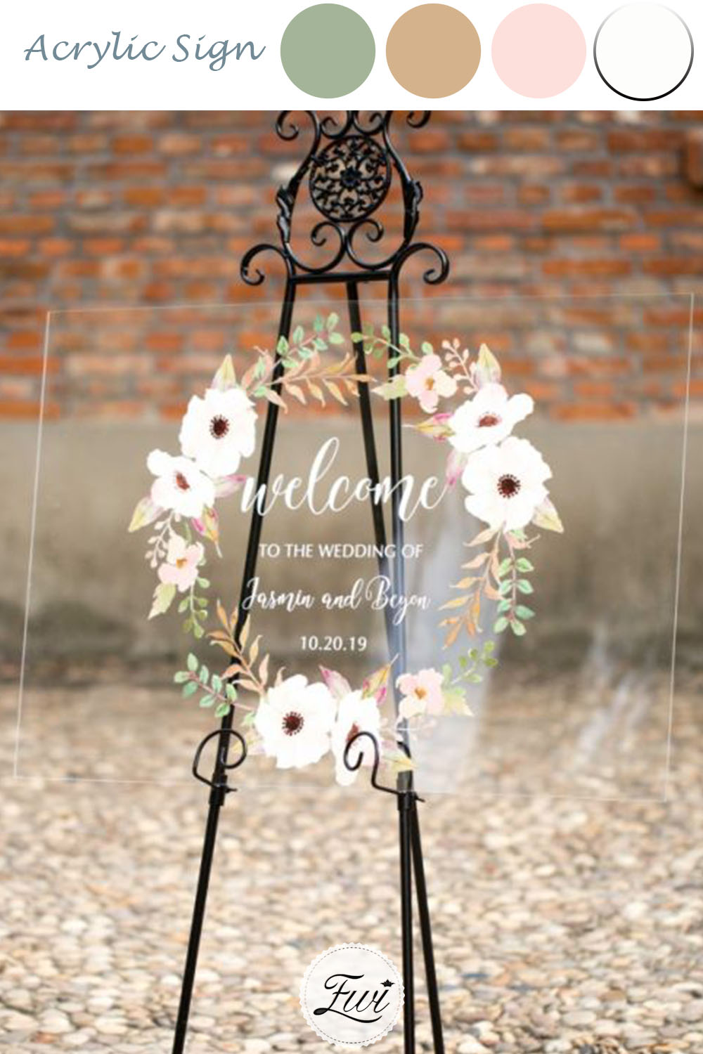 stunning acrylic wedding welcome sign winter white floral wreath