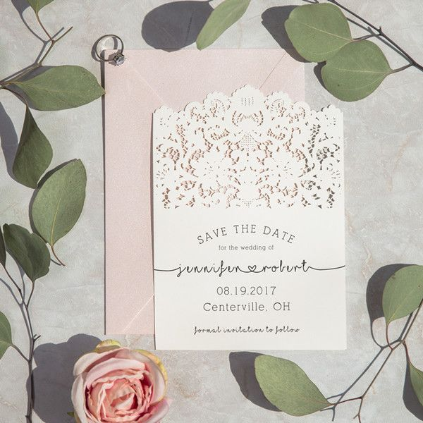 vintage lace inspired wedding save the date card ewstd058 2