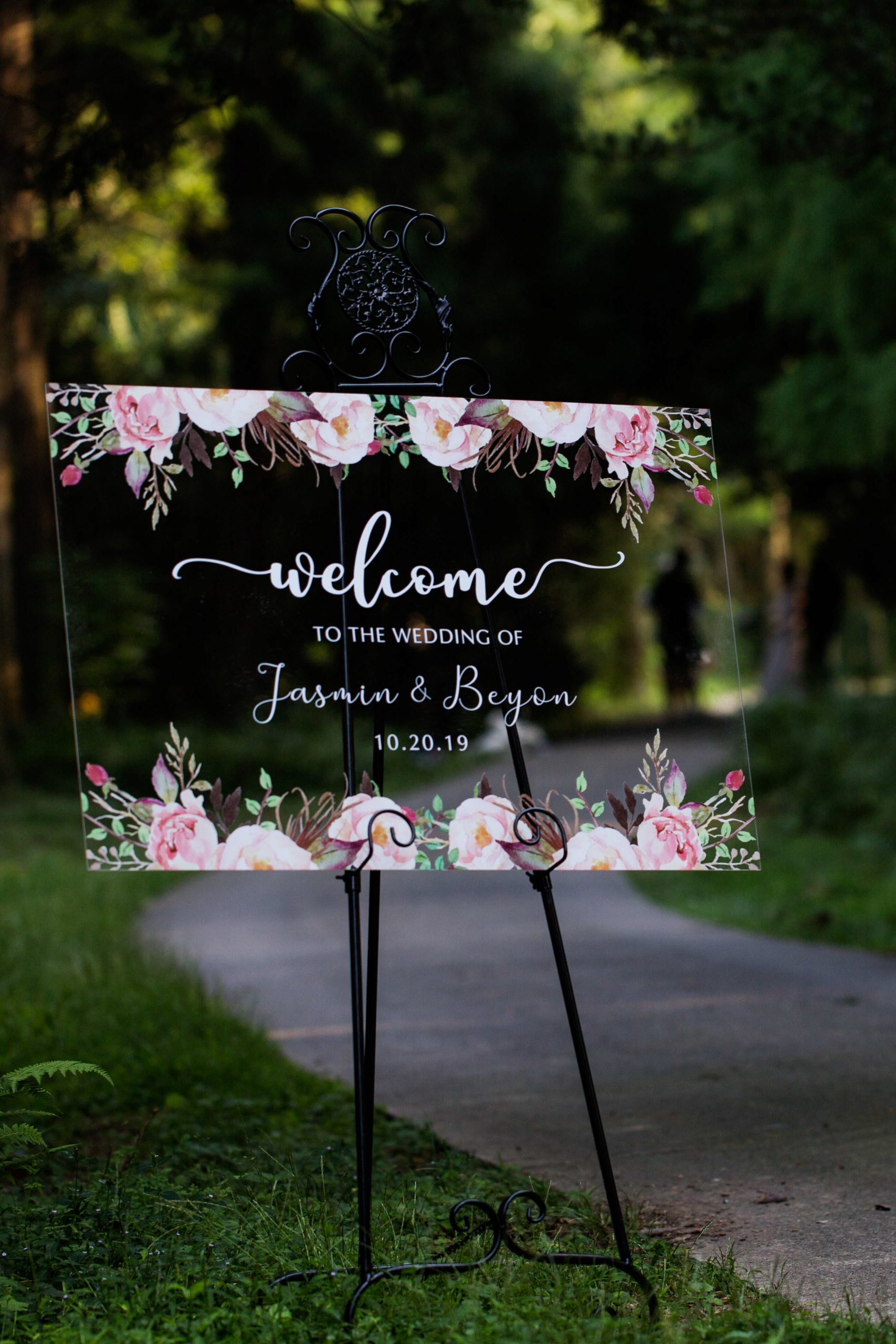 Custom Wedding Sign Acrylic Welcome Sign Rustic Modern Pink Spring Flower