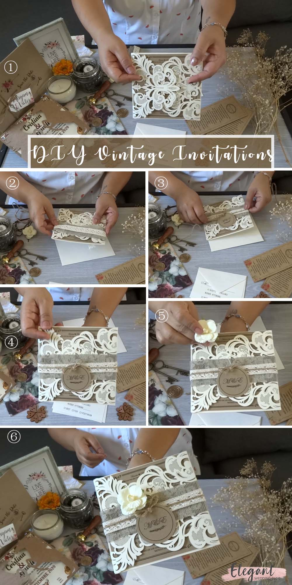 DIY wedding Invitations with love natural decoration