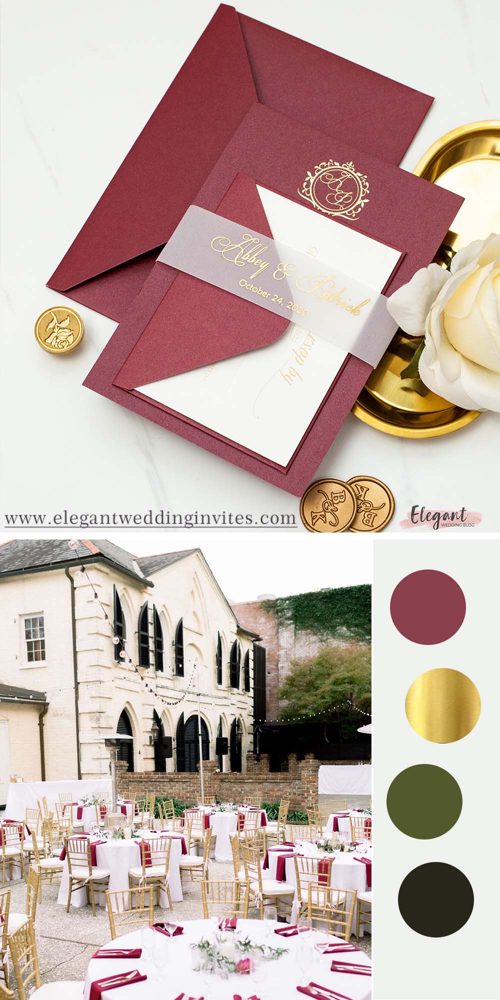 Merlot burgundy invitations with gold foil print and translucent vellum belly band