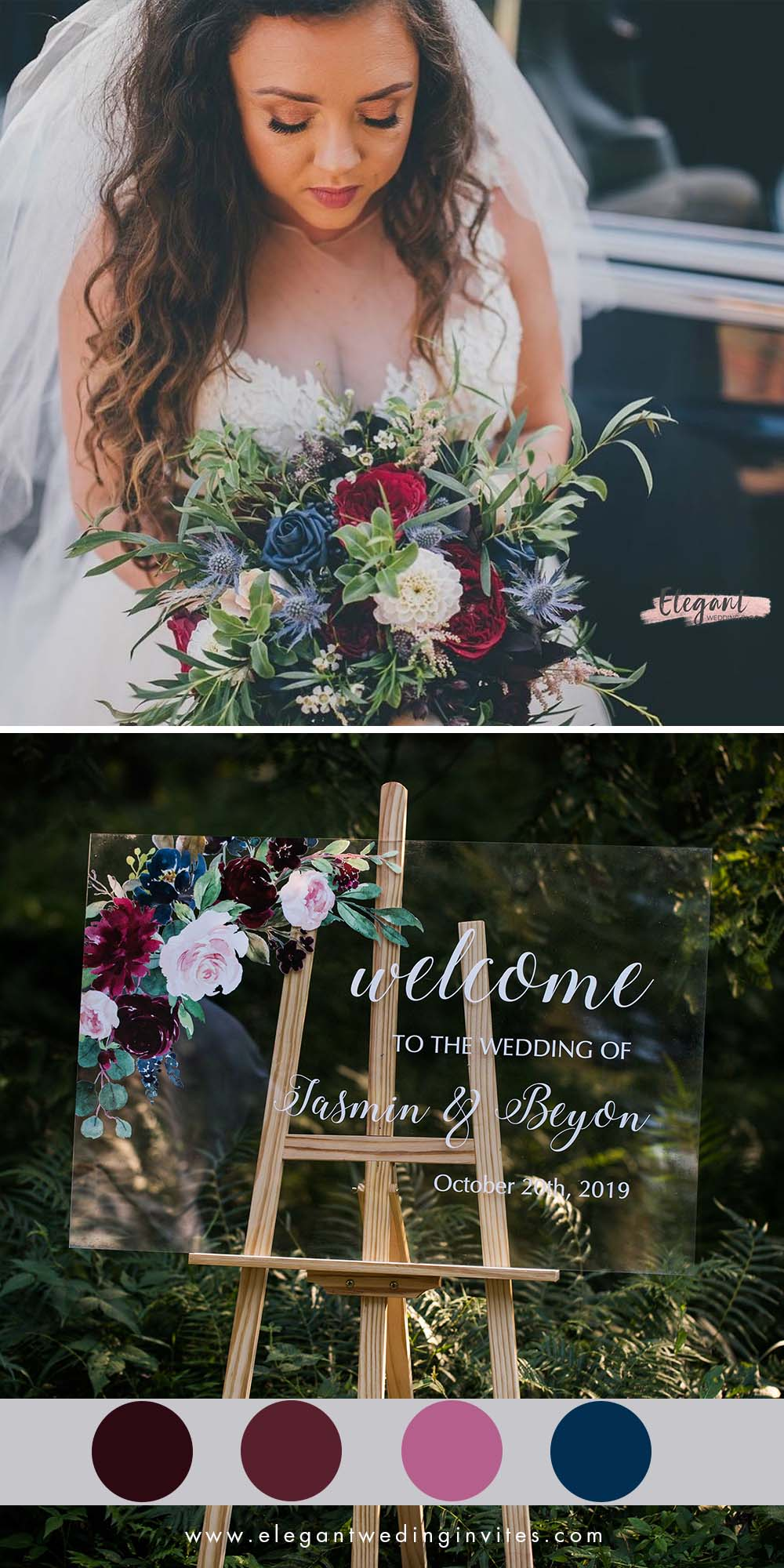 Stunning burgundy and Blue Floral Wedding Sign Acrylic Welcome Signs