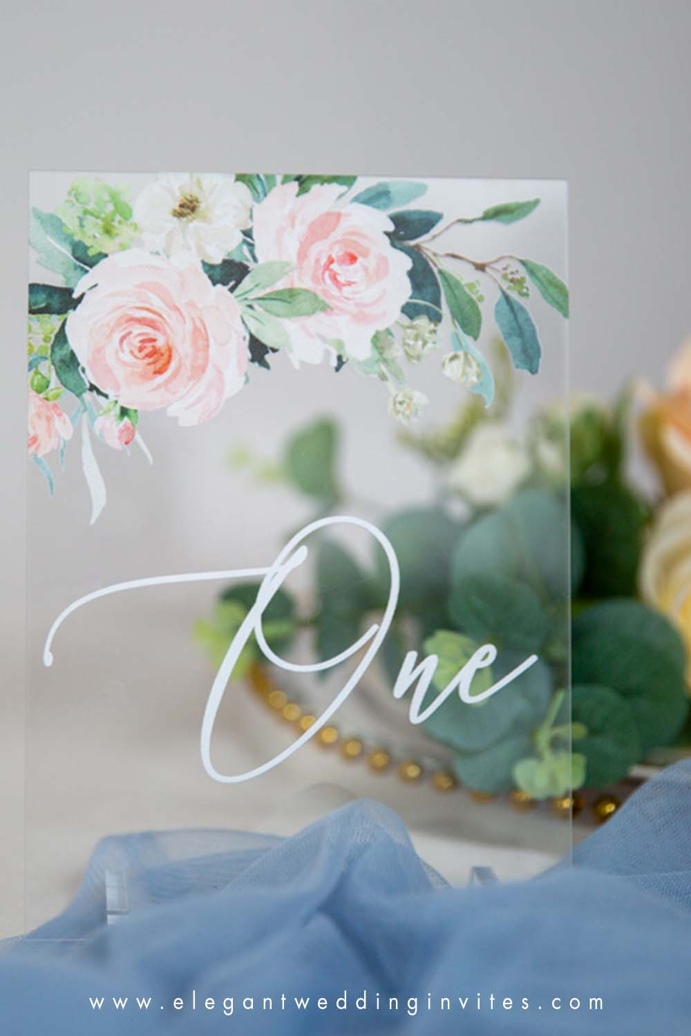 acrylic table numbers elegant ivory and white flowers greenery