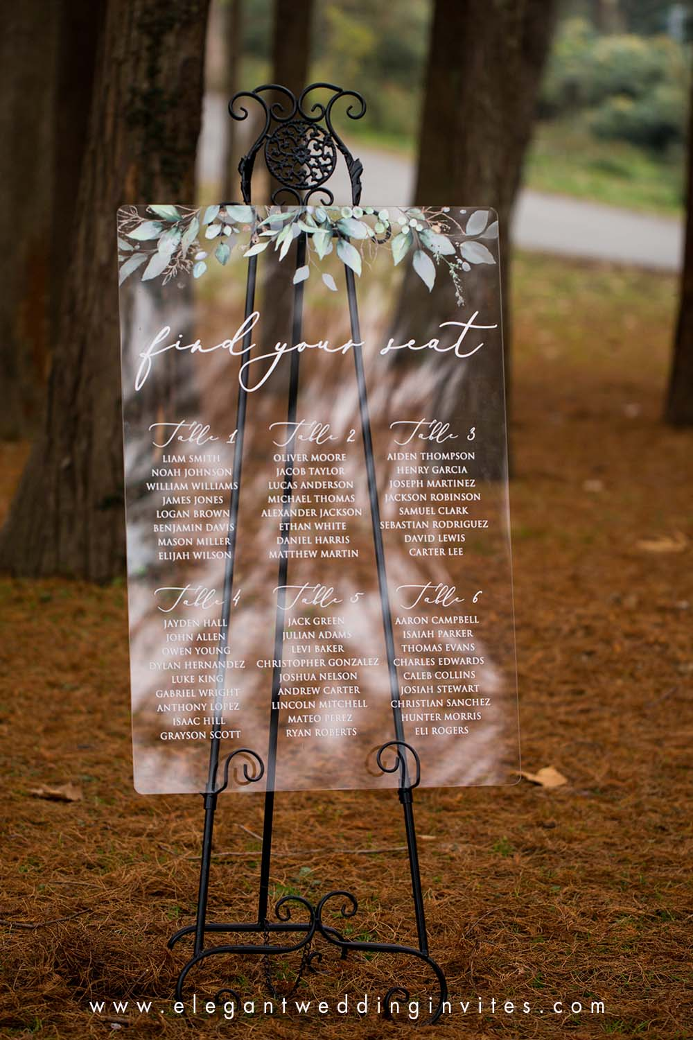 acrylic wedding seating chart plan watercolor gold greenery leaves