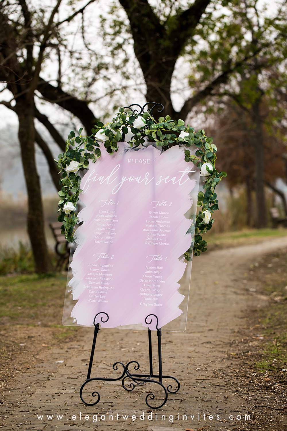 acrylic wedding seating chart plan with painted backs for wedding reception