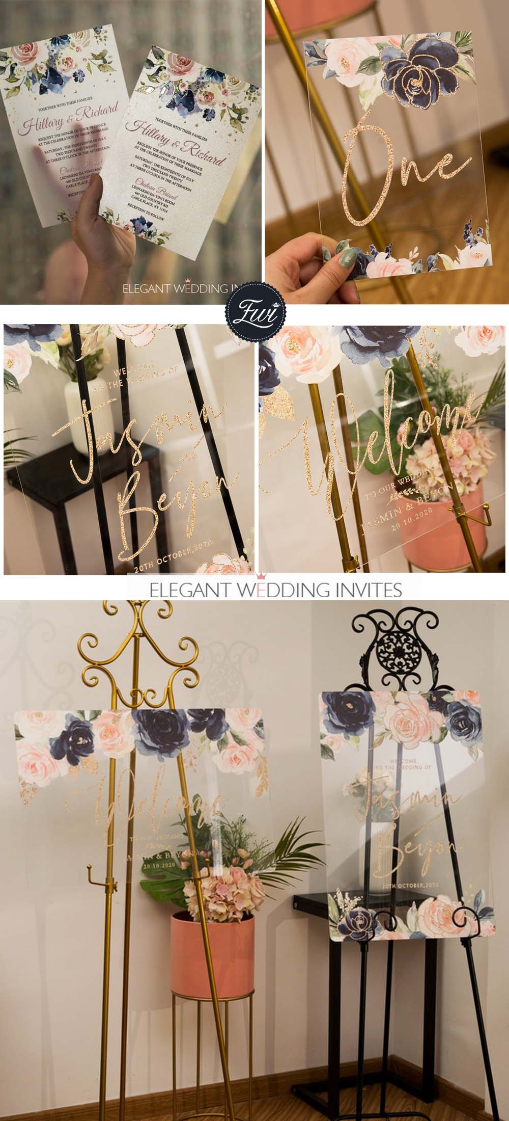 blush flowers and navy touches wedding color ideas with acrylic signs and wedding invites