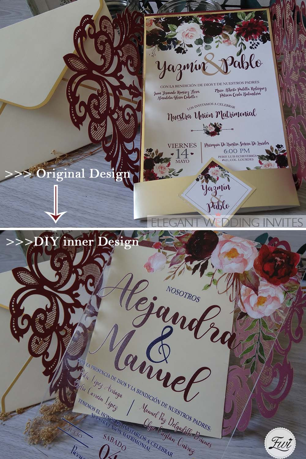 burgundy wrap with gold base inside and floral print and design acrylic wedding invitations