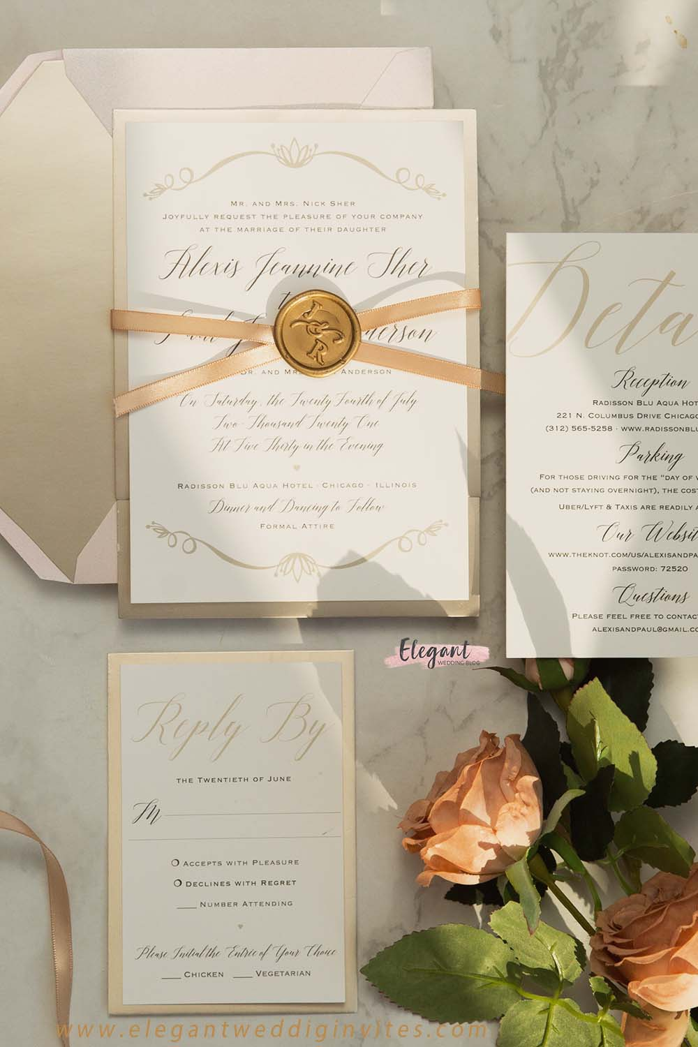 chic ribbon and custom wax seal stickers for wedding invitations