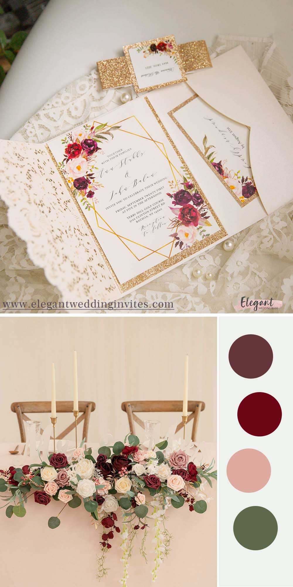 classic burgundy and blush floral pattern wedding color ideas