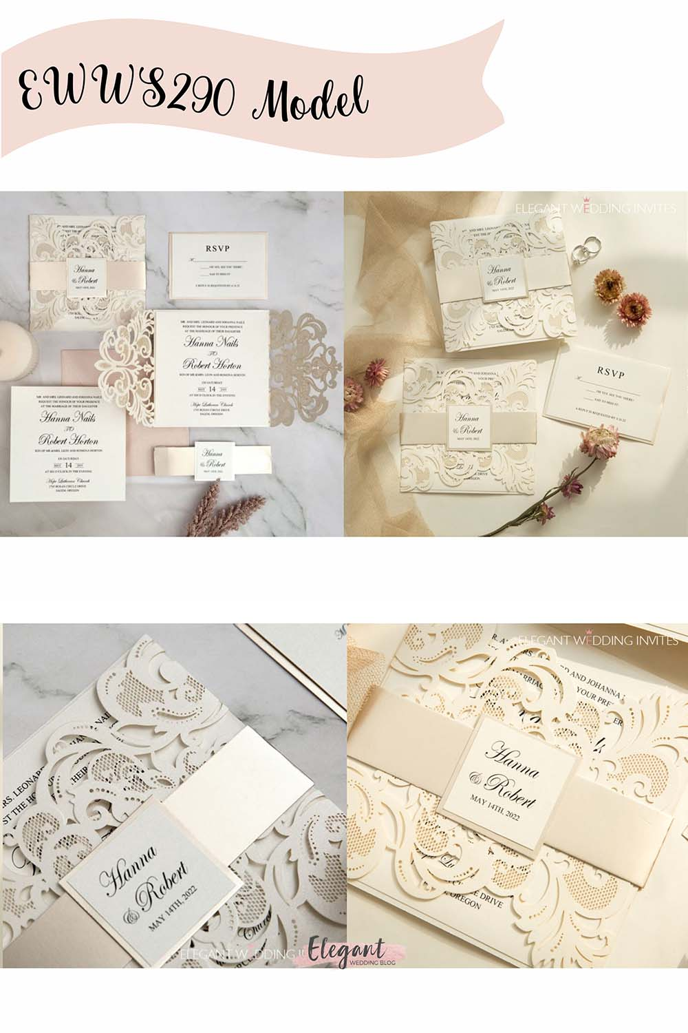 classy ivory laser cut wedding invitations with mirror belly band and tag EWWS290 1