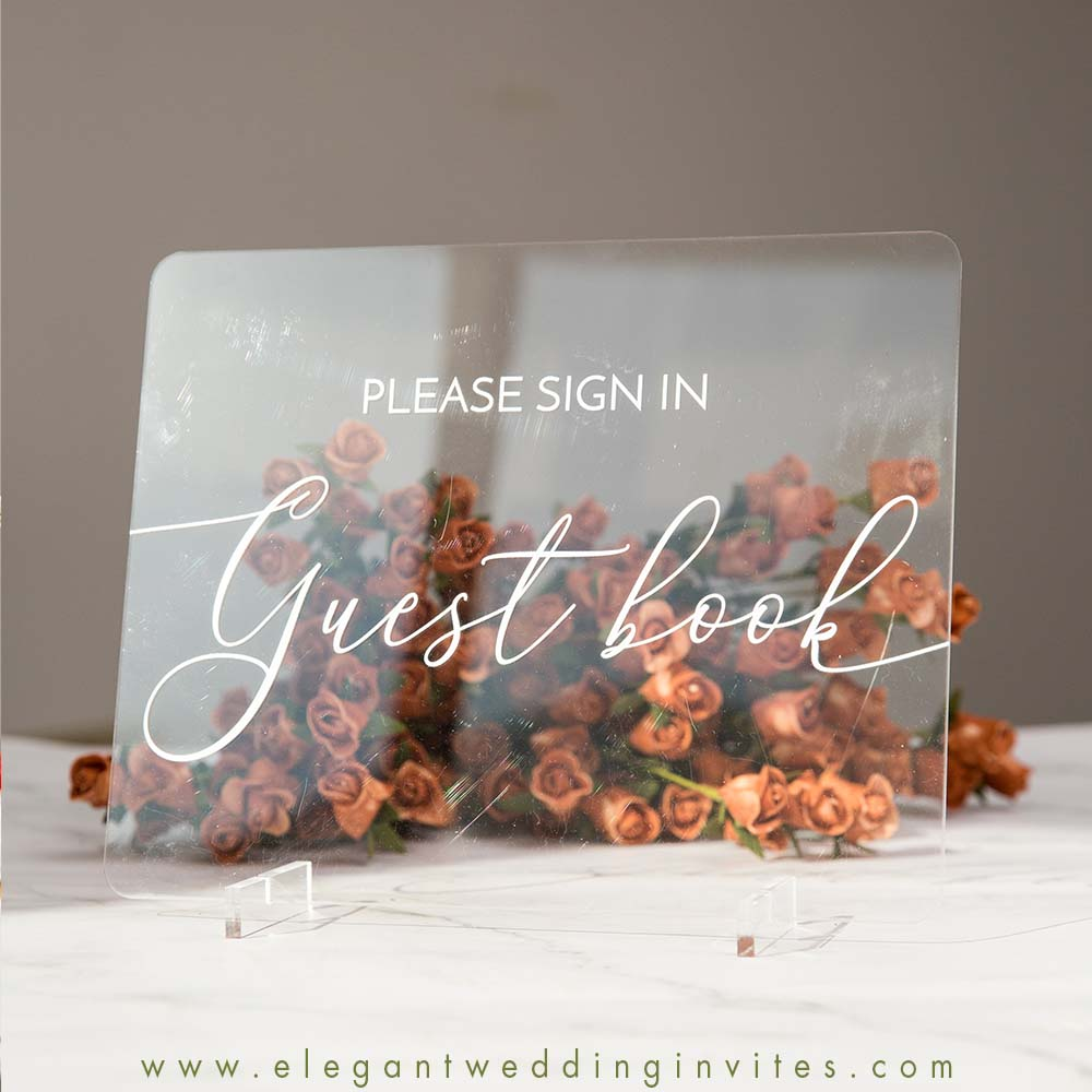 clear acrylic wedding table signs guest book sign