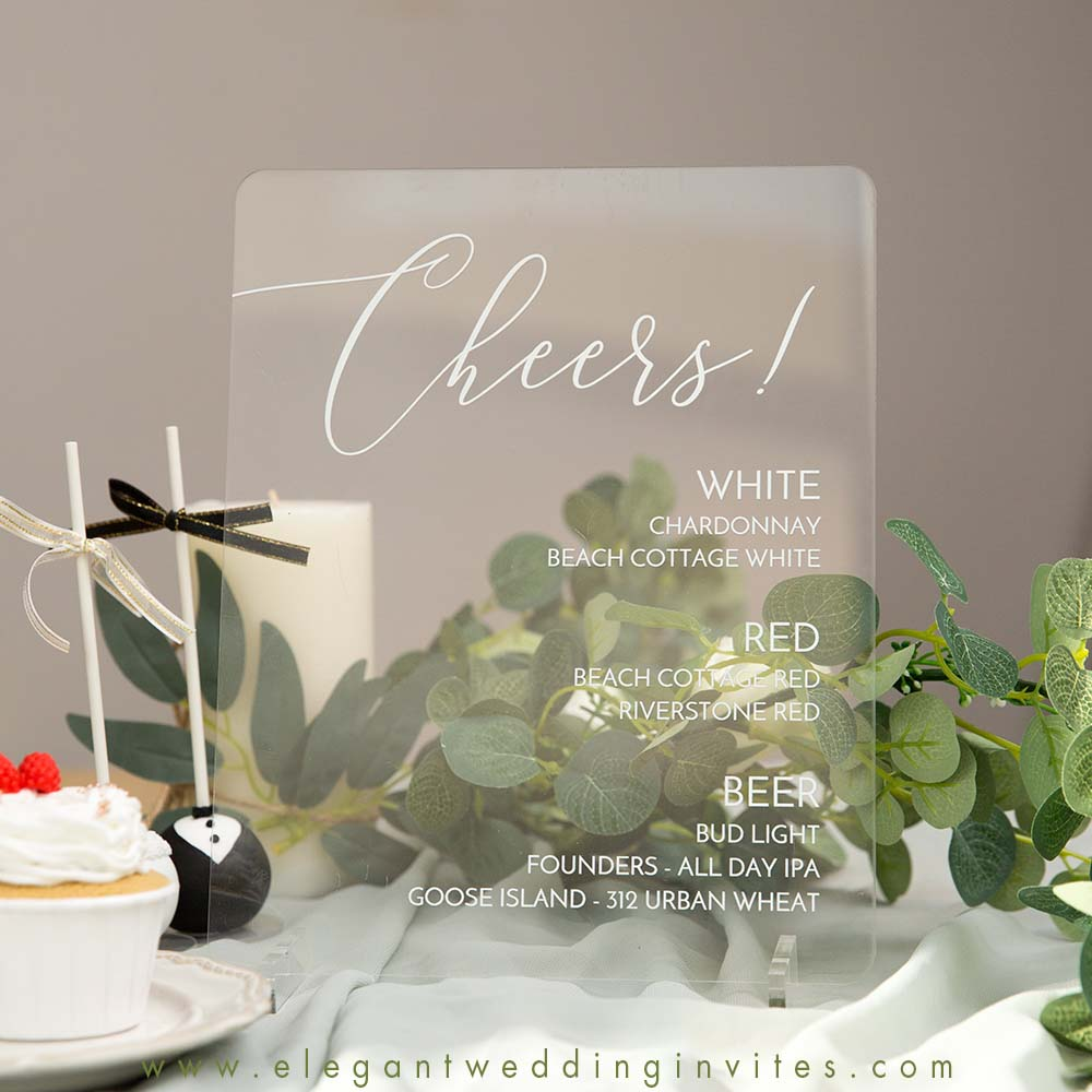 clear cheers drink sign acrylic wedding signs for table