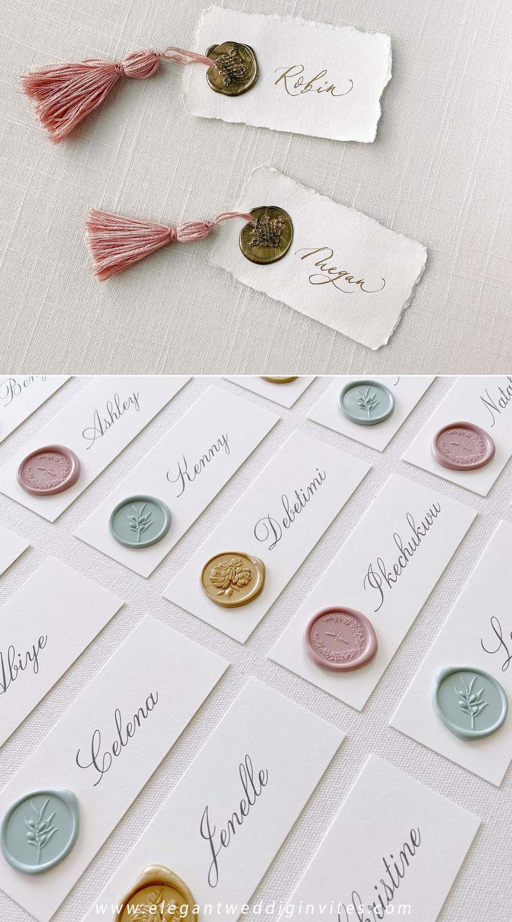 colorful wax seal stickers for diy wedding table name card ideas