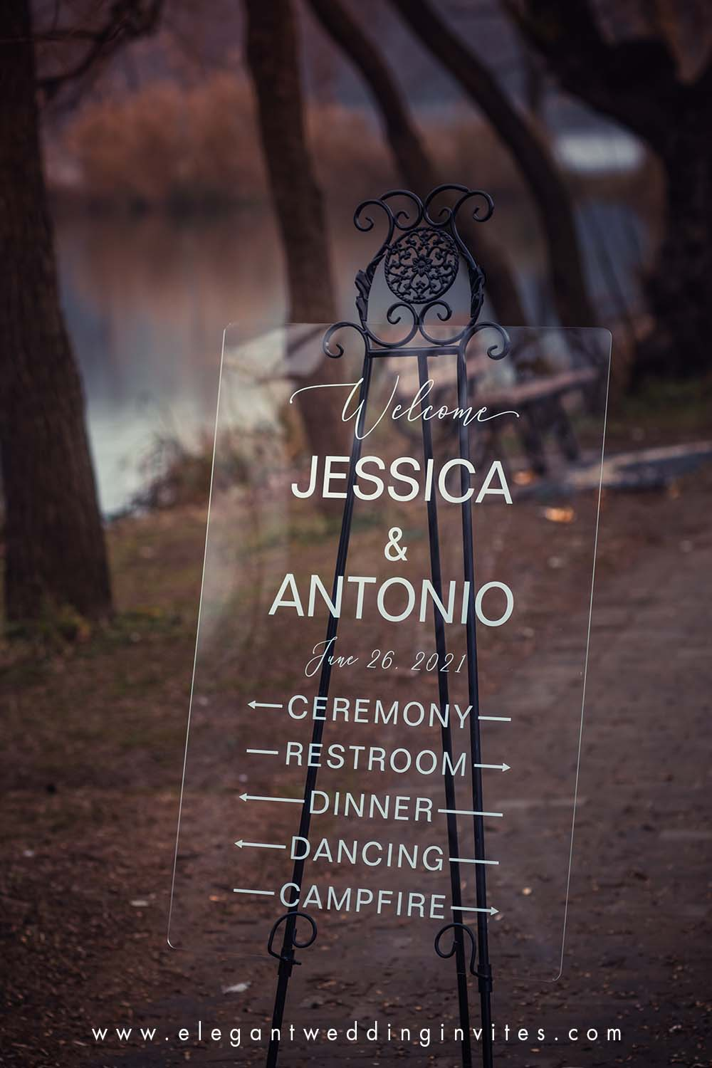 custom acrylic wedding sign clear and chic wedding direction sign