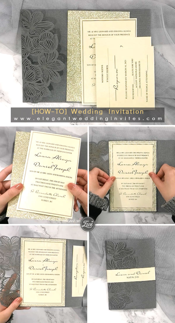 dark color Pocket Wedding Invitations with Glittery Papaer for winter wedding ideas