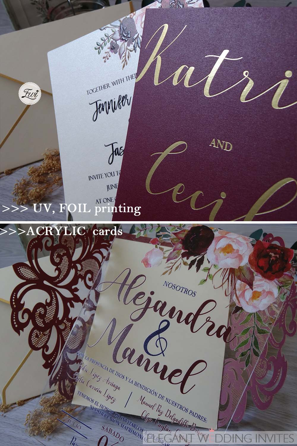 different print finishes on different papers for wedding invitations