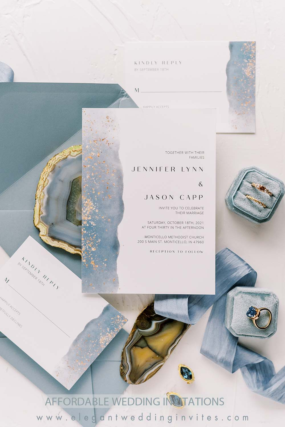 dusty blue and gold glitter beach theme wedding invitations with vellum belly customized wax seal stickers
