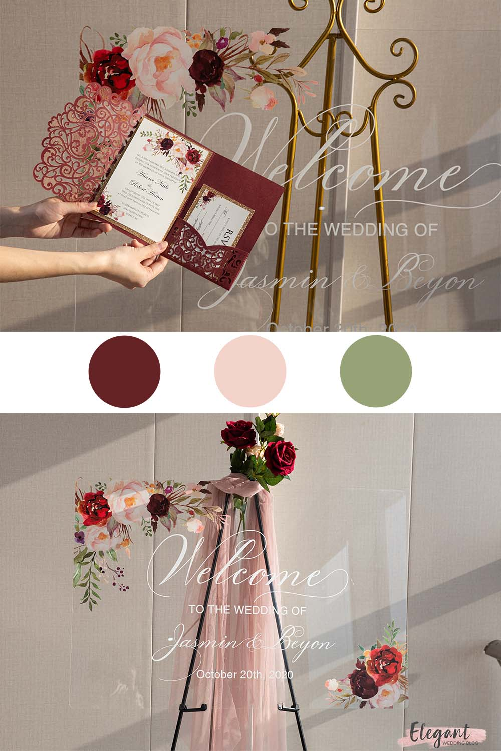 elegant burgundy and blush florals for acrylic wedding signs and wedding invites
