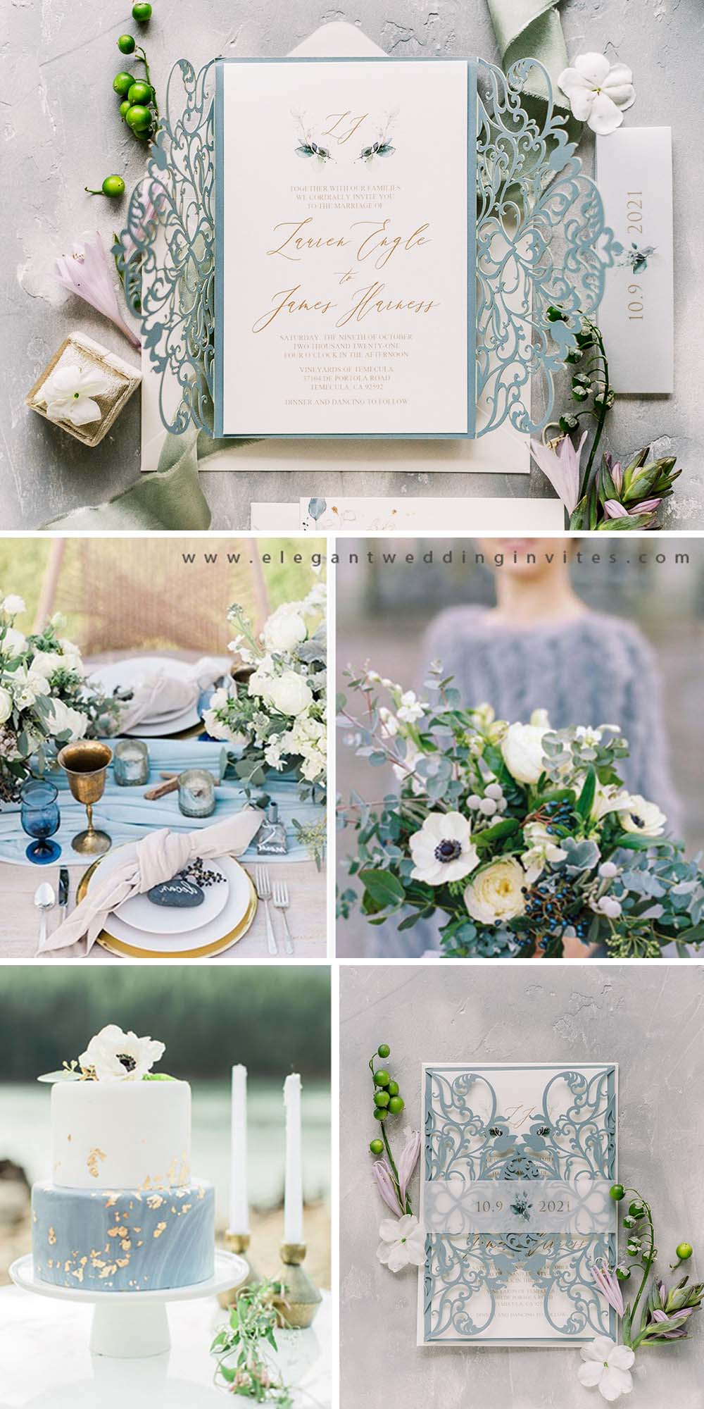 elegant dusty blue and greenery color palette for fall winter wedding ideas