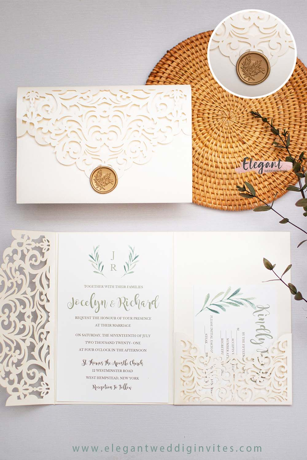 elegant ivory laser cut pocket wedding invites with leaves wax seal stickers