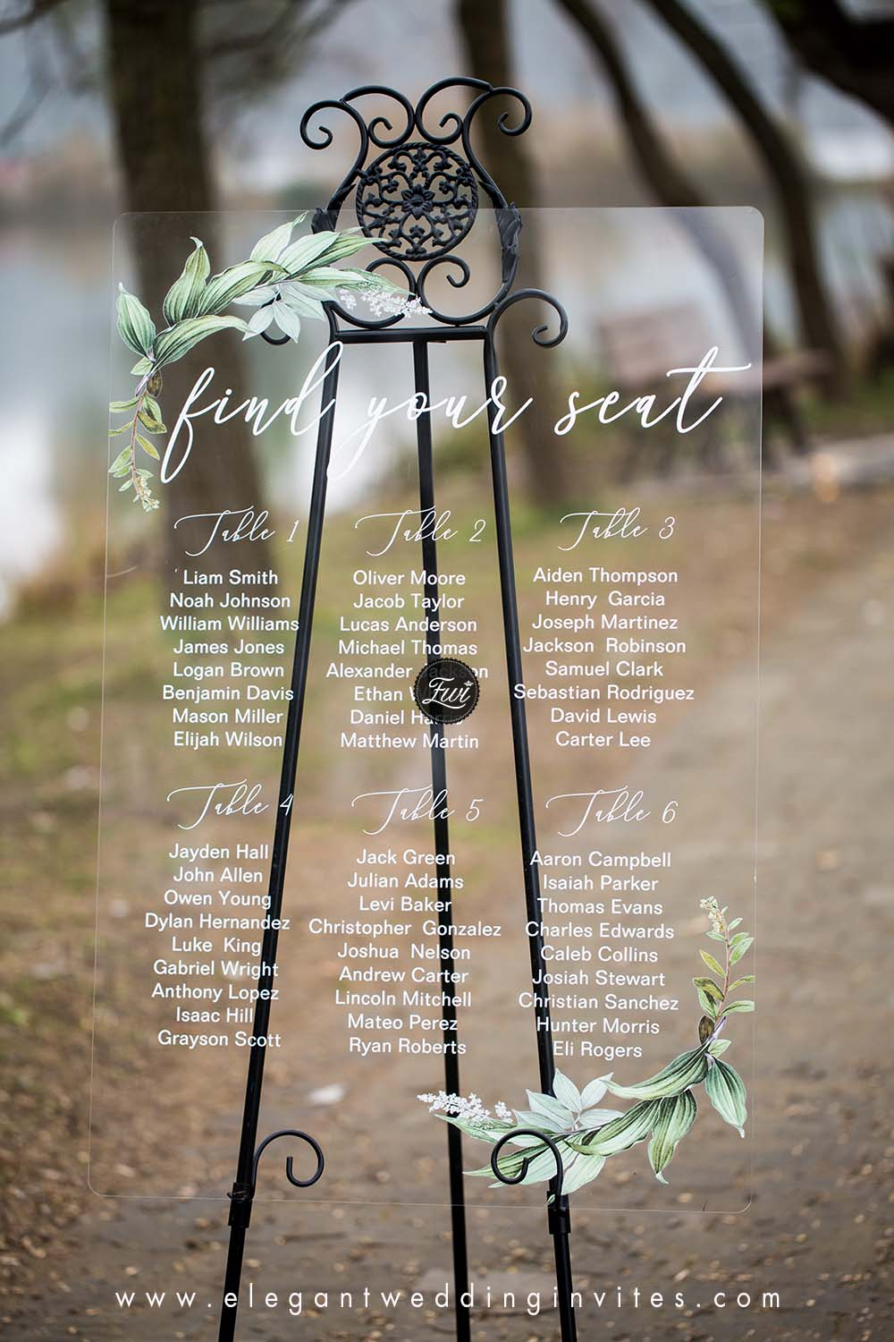 greenery acrylic wedding reception signs with seating chart design