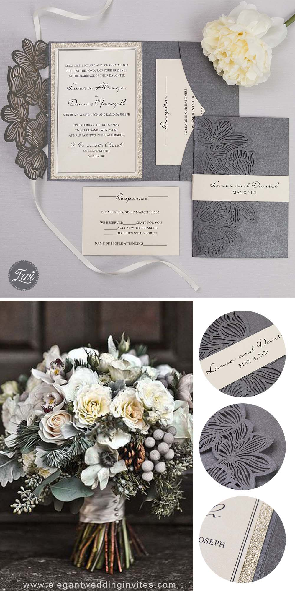 grey and champagne gold laser cut wedding invitations for winter wedding ideas