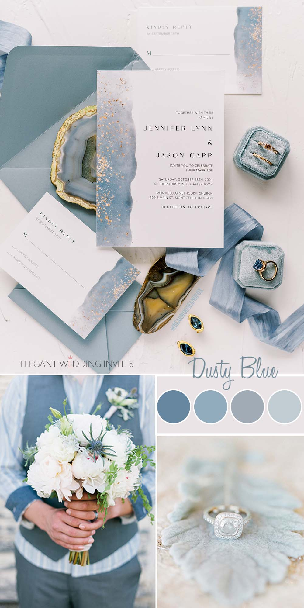 modern dusty blue and gold glitter beach theme wedding invitation vellum belly band customized letters wax seal stickers