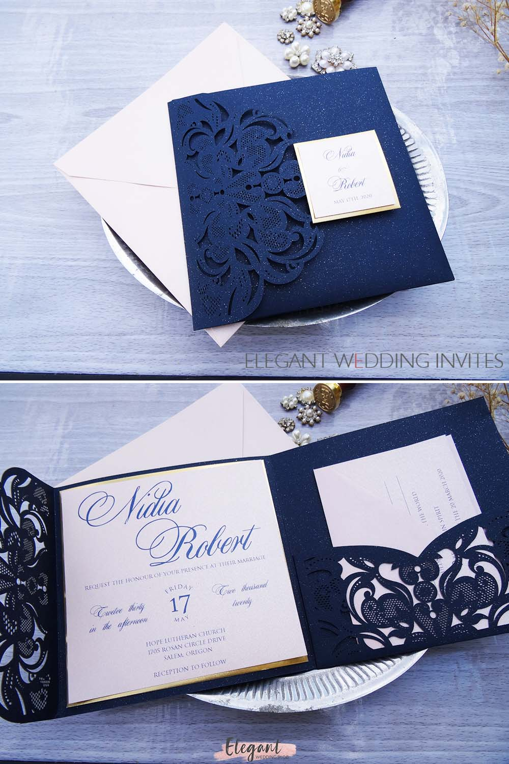 navy sparkly laser cut pocket with blush invitation for unique wedding themes