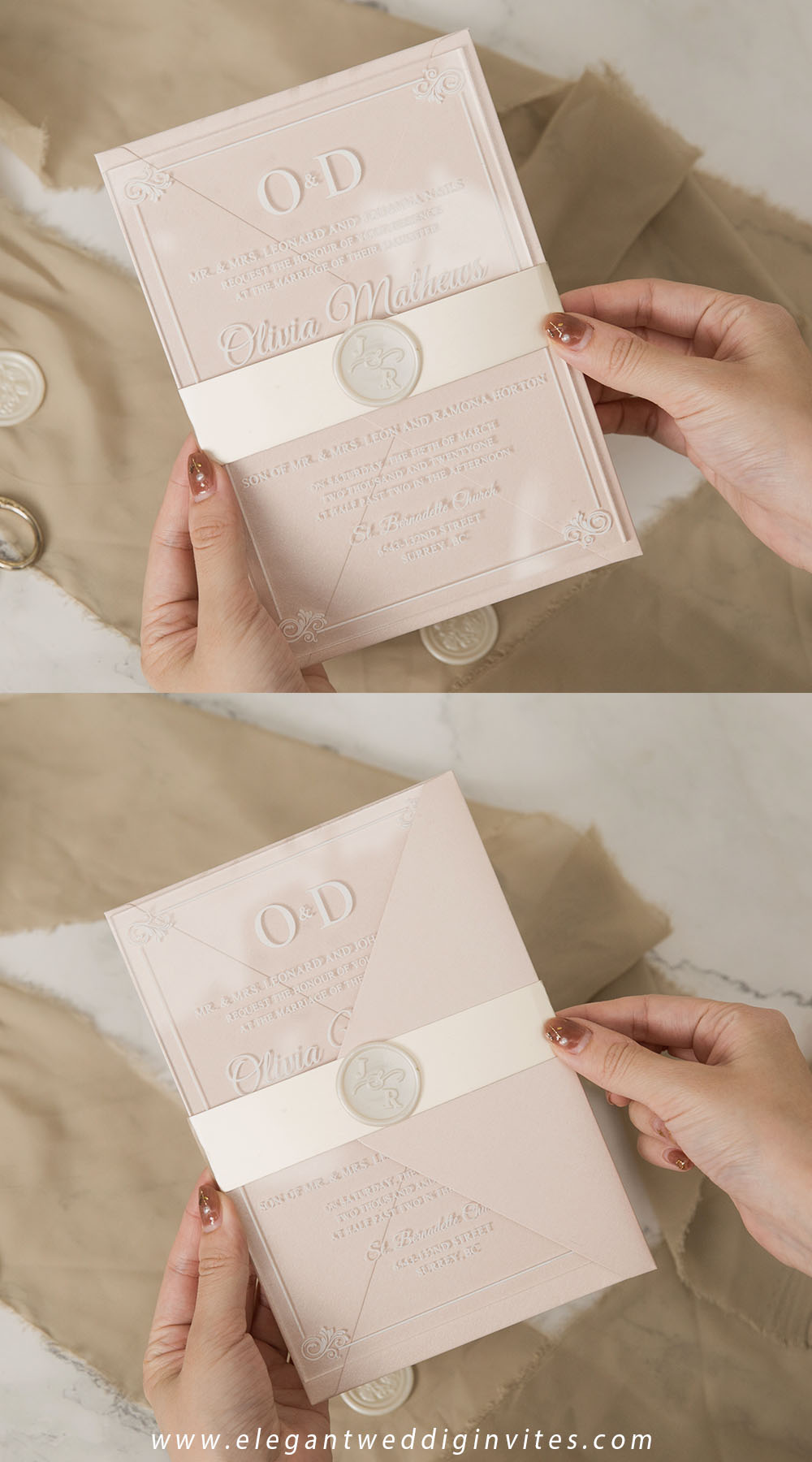 personalised wax seals for clear acrylic wedding invitations champagne