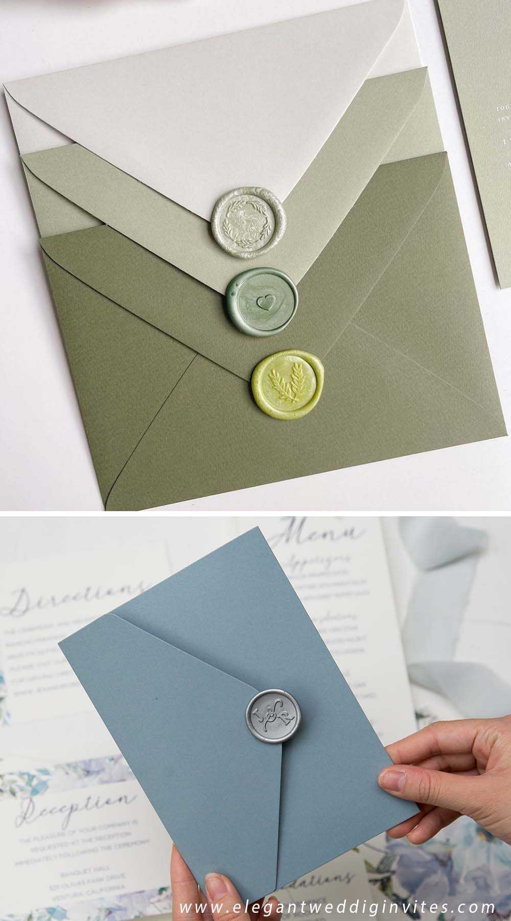 popular wax seal stamp on outer envelopes for wedding invitations