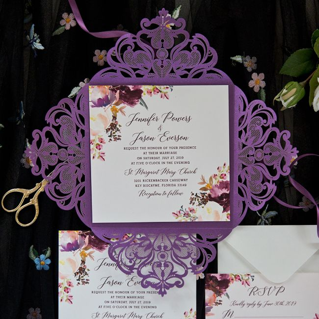 purple laser cut fold with floral touches on invitation ewdk011