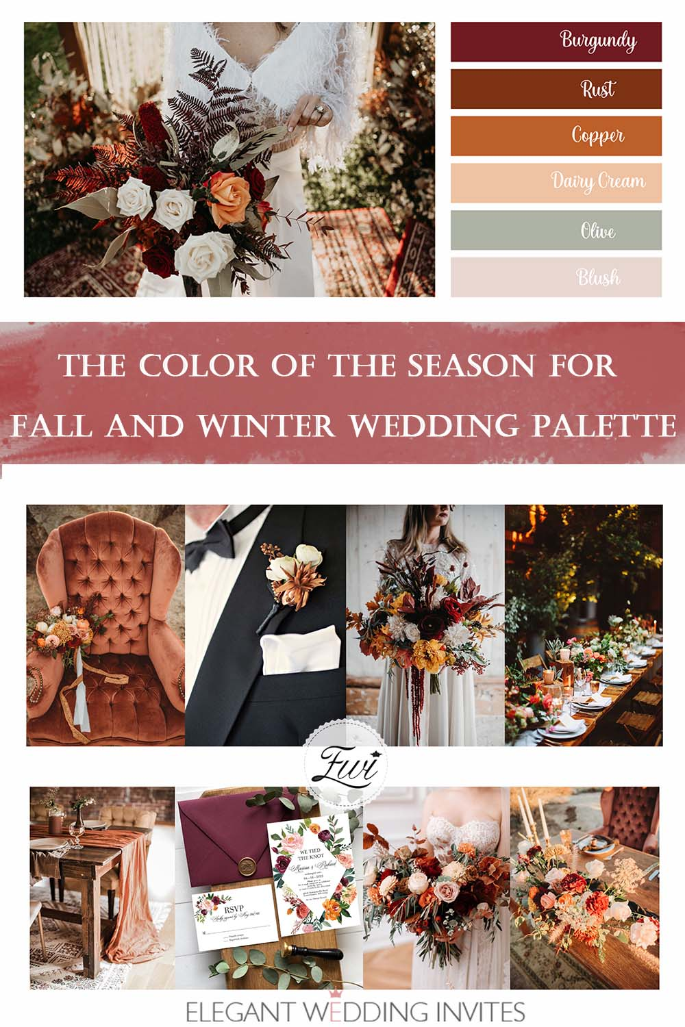 the beautiful color palette of the season for Fall and Winter wedding ideas 2