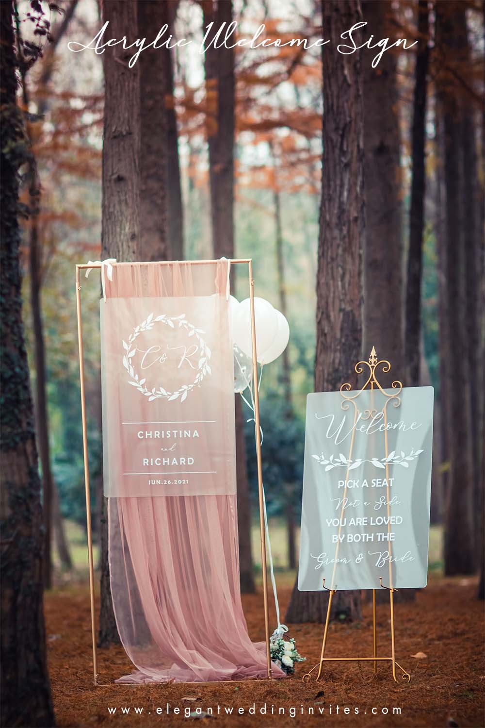 top frosted acrylic wedding welcome signs for fall outdoor wedding ideas 2