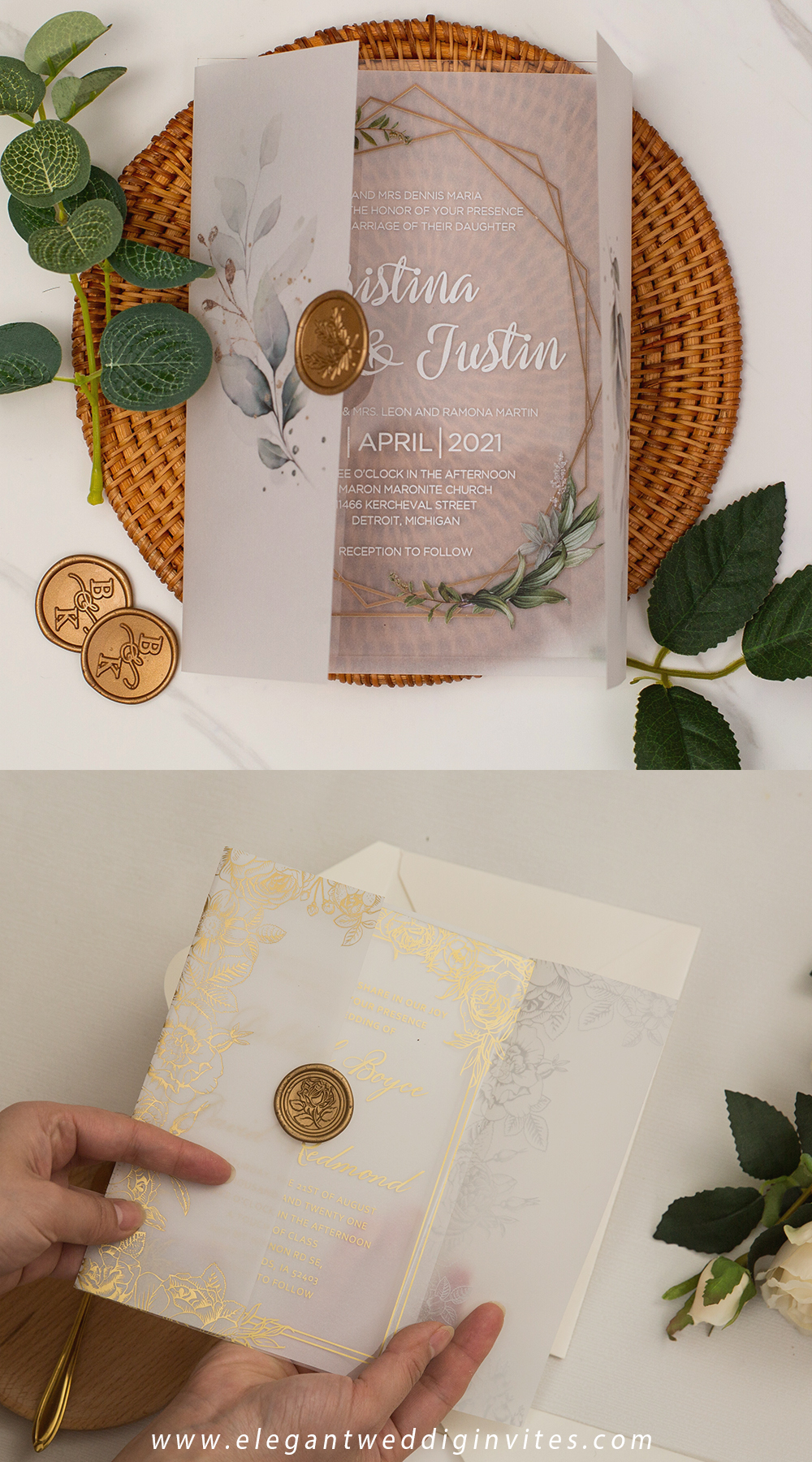 unique acrylic wedding invitations with printed vellum jacket and gold custom wax seal stamps