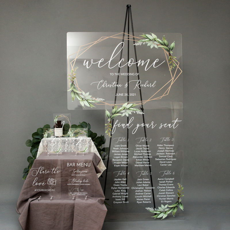 unique acrylic wedding signs with greenery leaves design 1