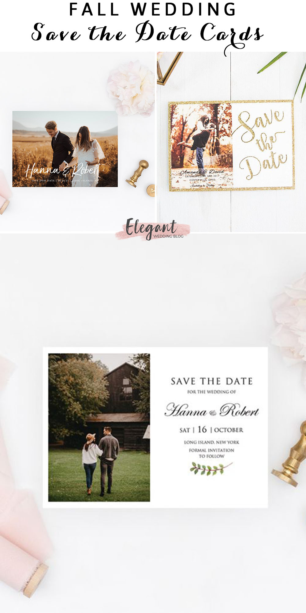 unique fall in love photo wedding save the date card