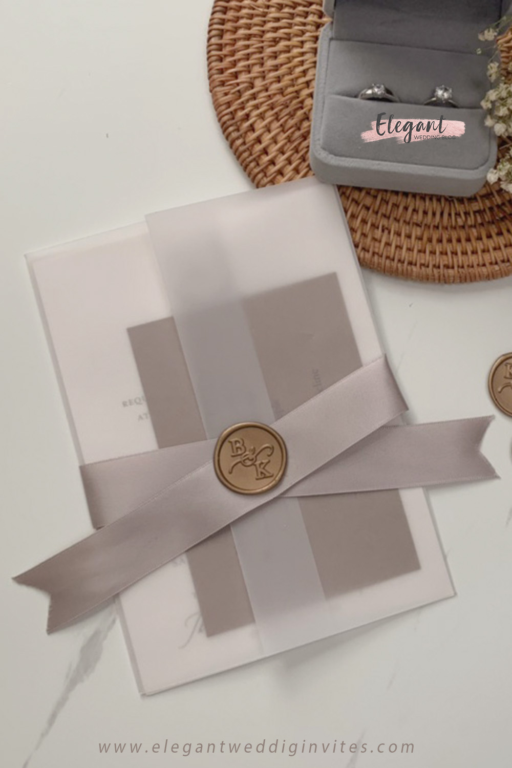 vintage vellum jacket wedding invitations with ribbon and wax seal