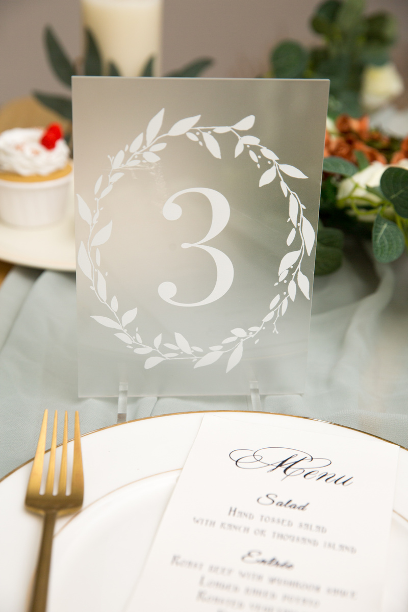 wedding table numbers Forested acrylic table numbers with leaves branch wreath