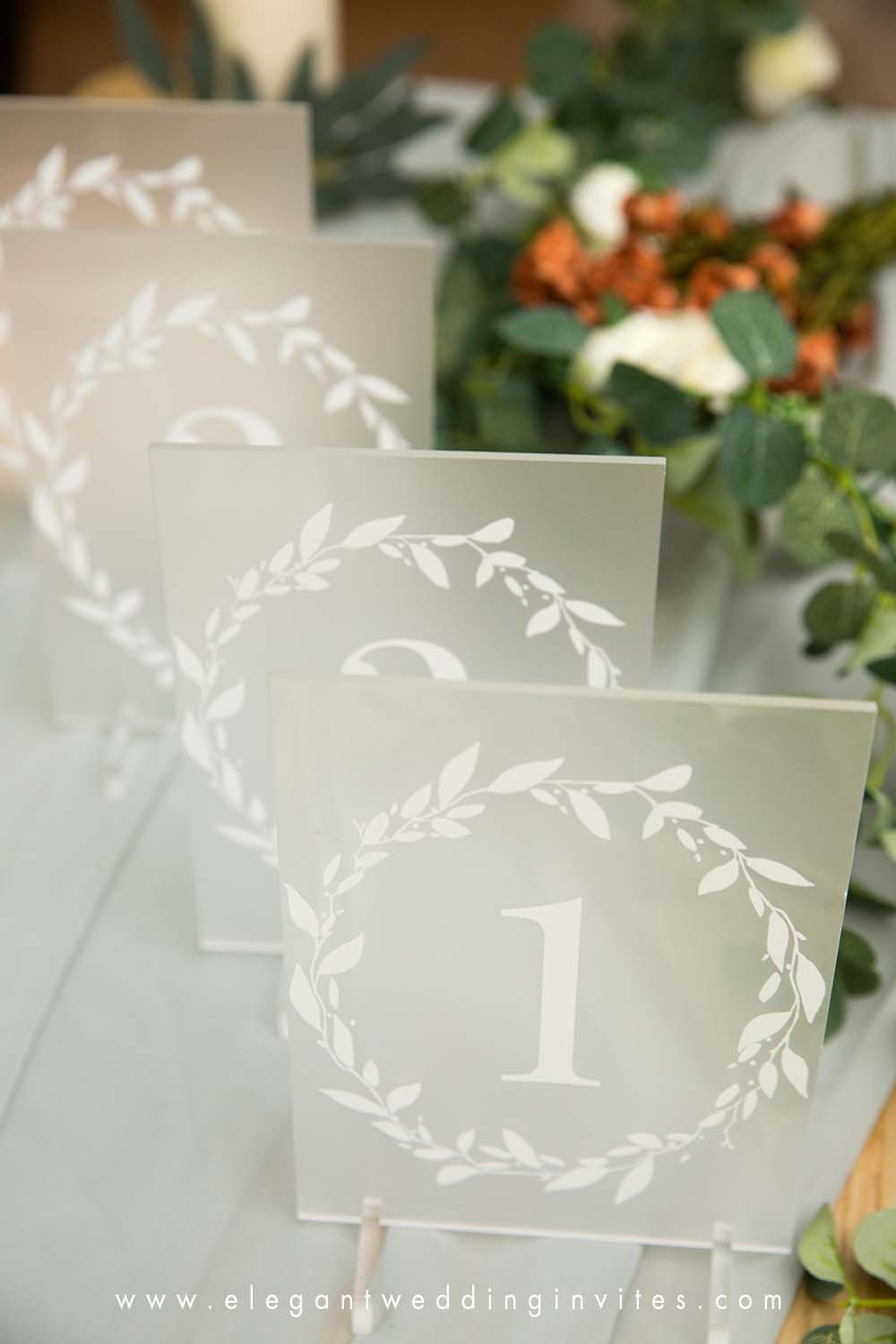 wedding table numbers acrylic table numbers with leaves branch wreath