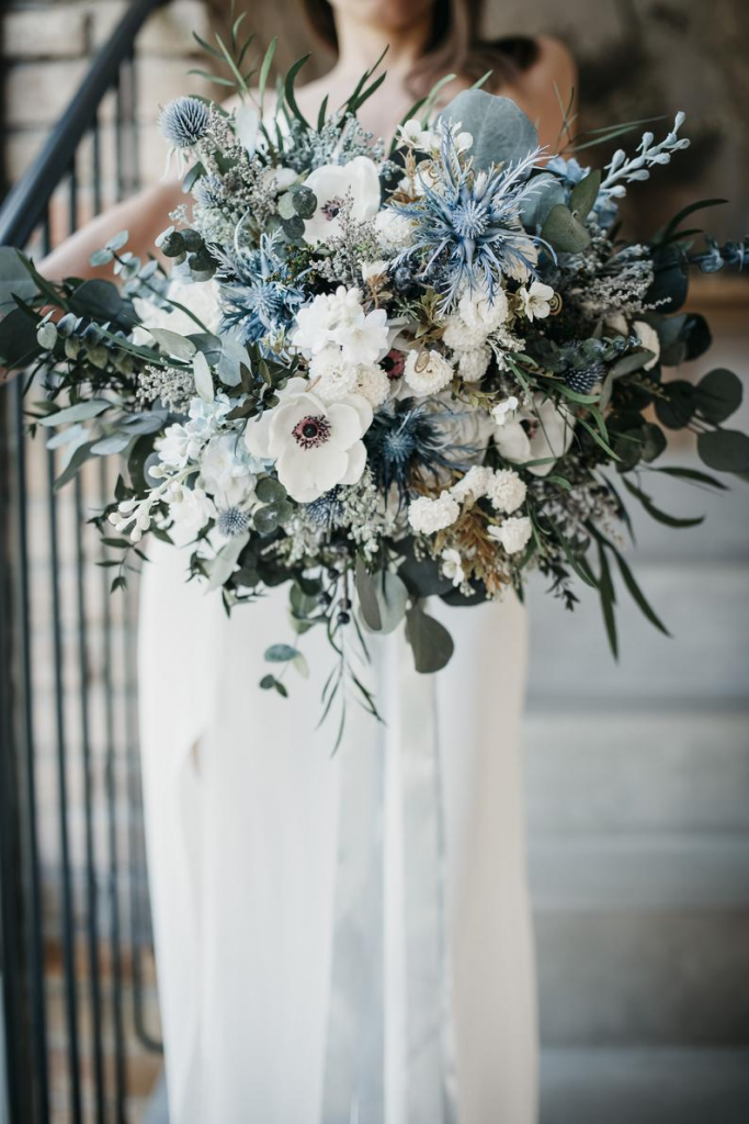 chilly white and blue bouquet ideas with eucalyptus for winter wedding
