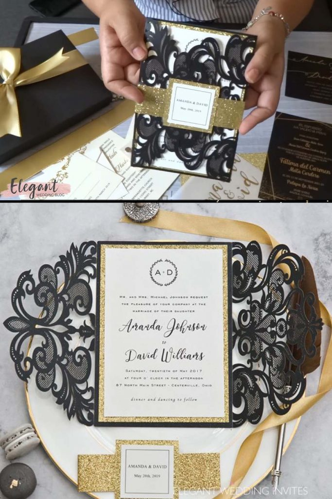 Elegant upscale glam gold and black laser cut wedding invitation with glittery belly band and customized tag 1