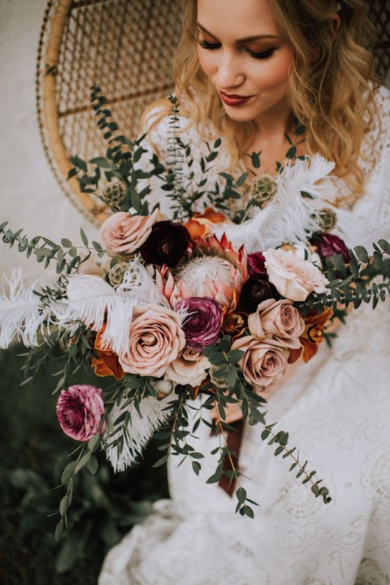 romantic rosy and rust winter wedding bouquets