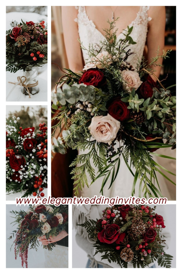 romantic winter wedding bouquets with roses and eucalyptus