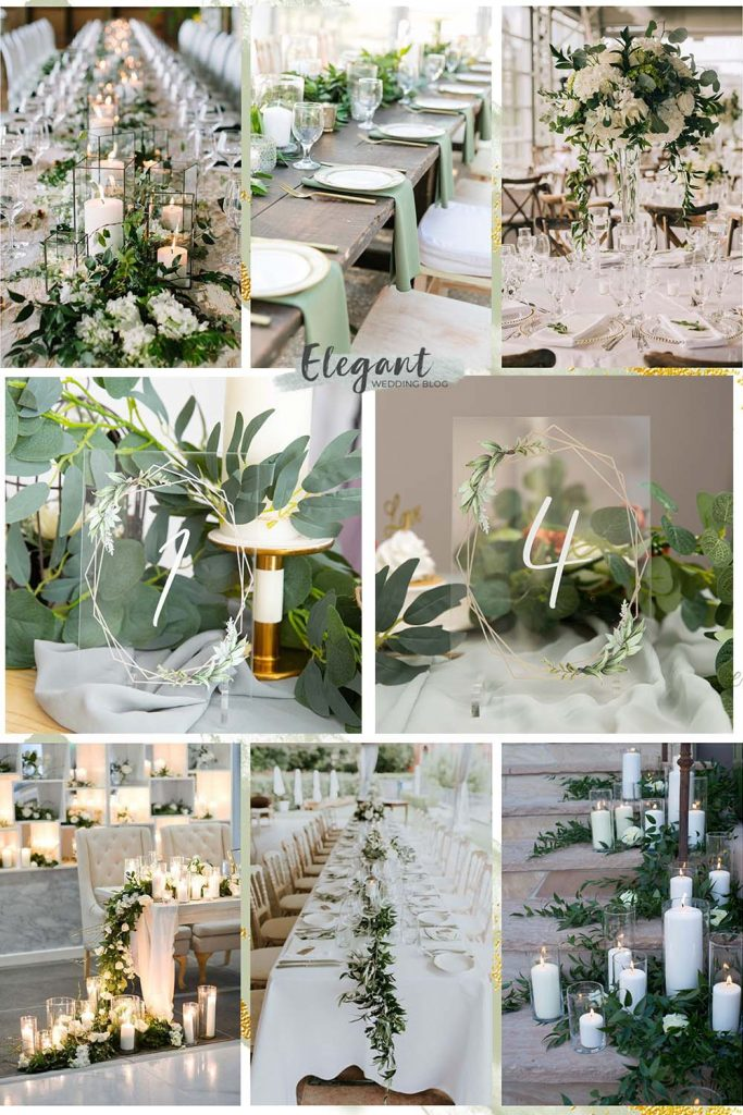 acrylic table number card with sage green for wedding table decoration ideas