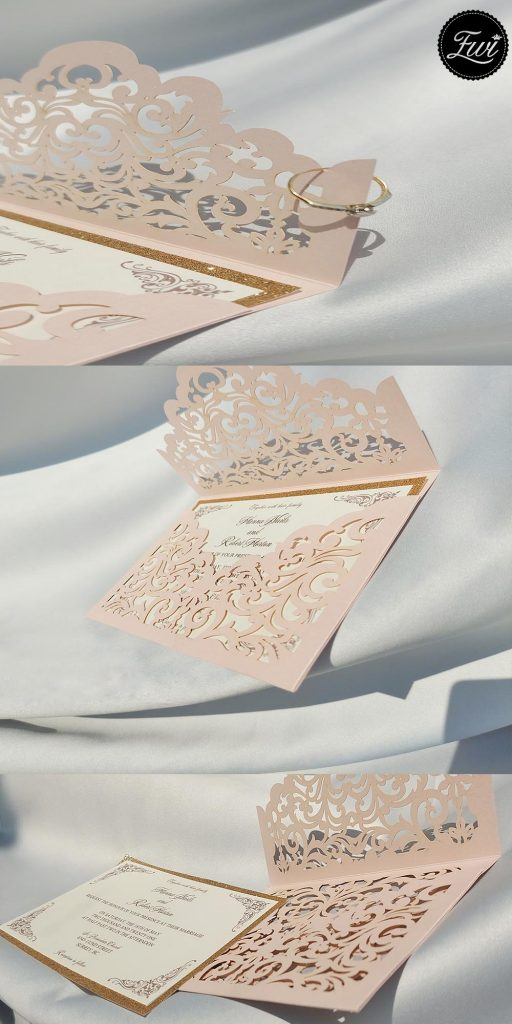 blush shimmer laser cut sleeve with classic invitation and glittery backerblush shimmer laser cut sleeve with classic invitation and glittery backer