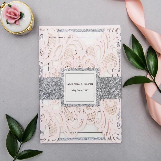blush and silver glittery laser cut wedding invites with belly bands ewws233