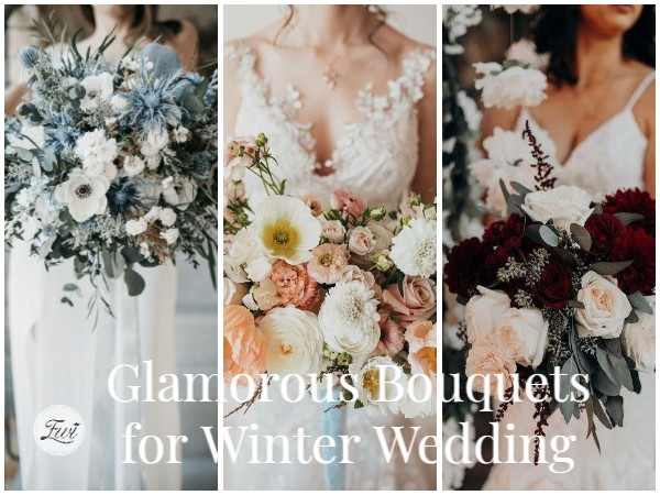 chilly and warm bouquets for winter wedding